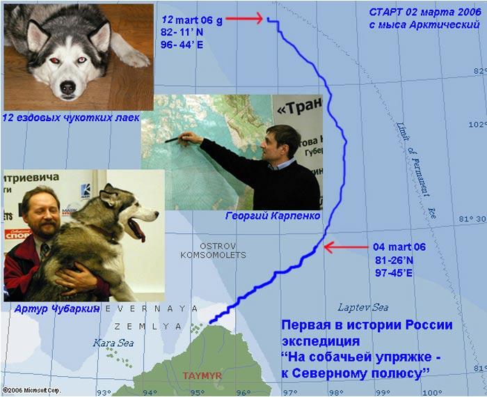 Маршрут экспедиции сильно зависит от дрейфа льдов! Видна смена направления дрейфа на 7 марта 2006